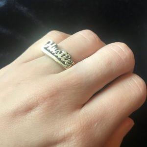 Gold HUSTLE ring size 7